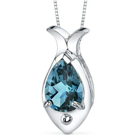 Peora 2.00 Carat T.G.W. Pear Shape London Blue Topaz Rhodium over Sterling Silver Pendant, 18