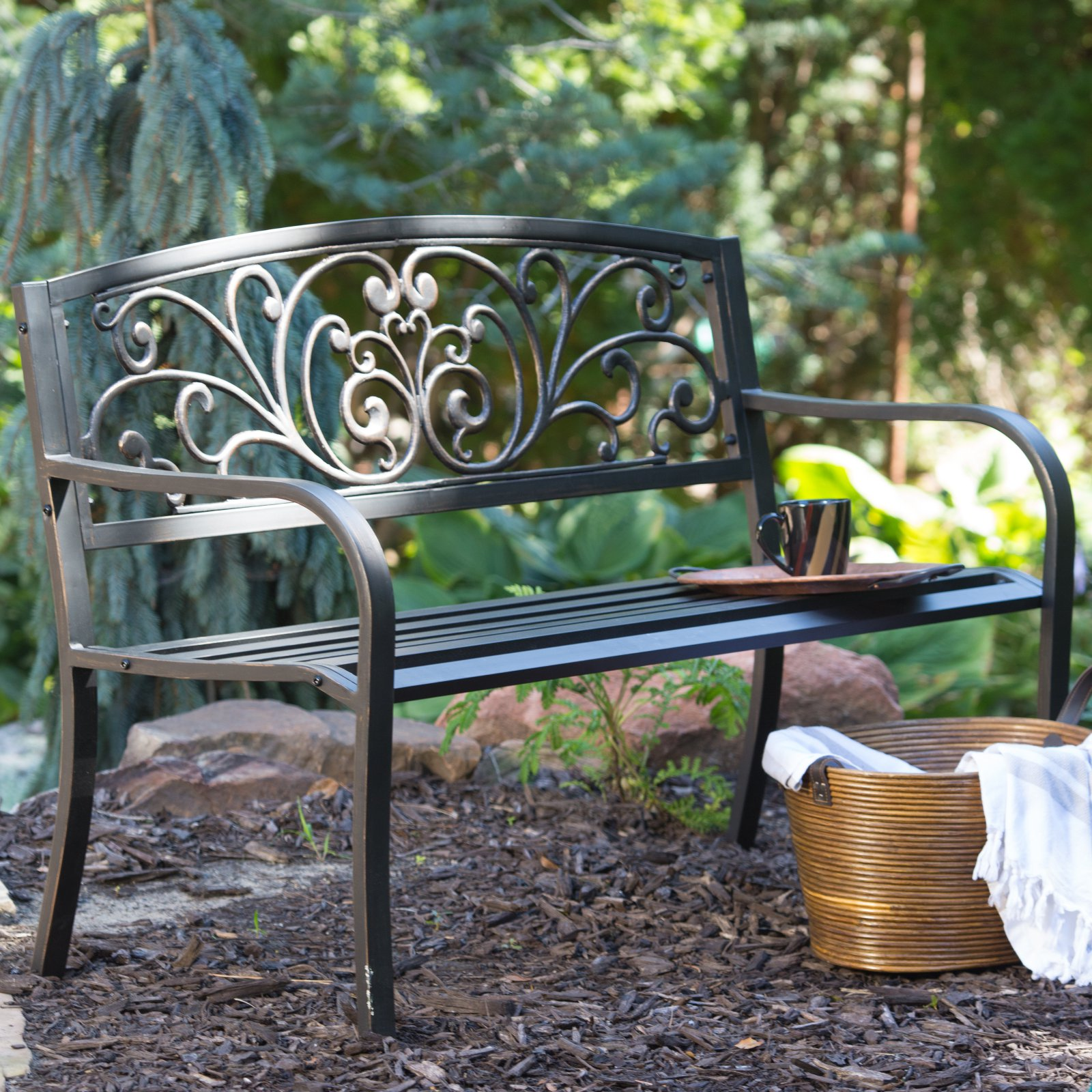 Coral Coast Scrolling Hearts Curved Back Metal Garden Bench by