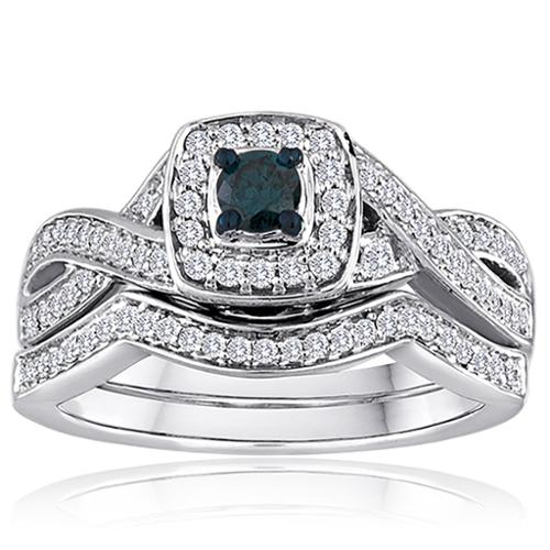 Amoureux Platinaire 1/2ct TDW Blue and White Diamond Bridal Set