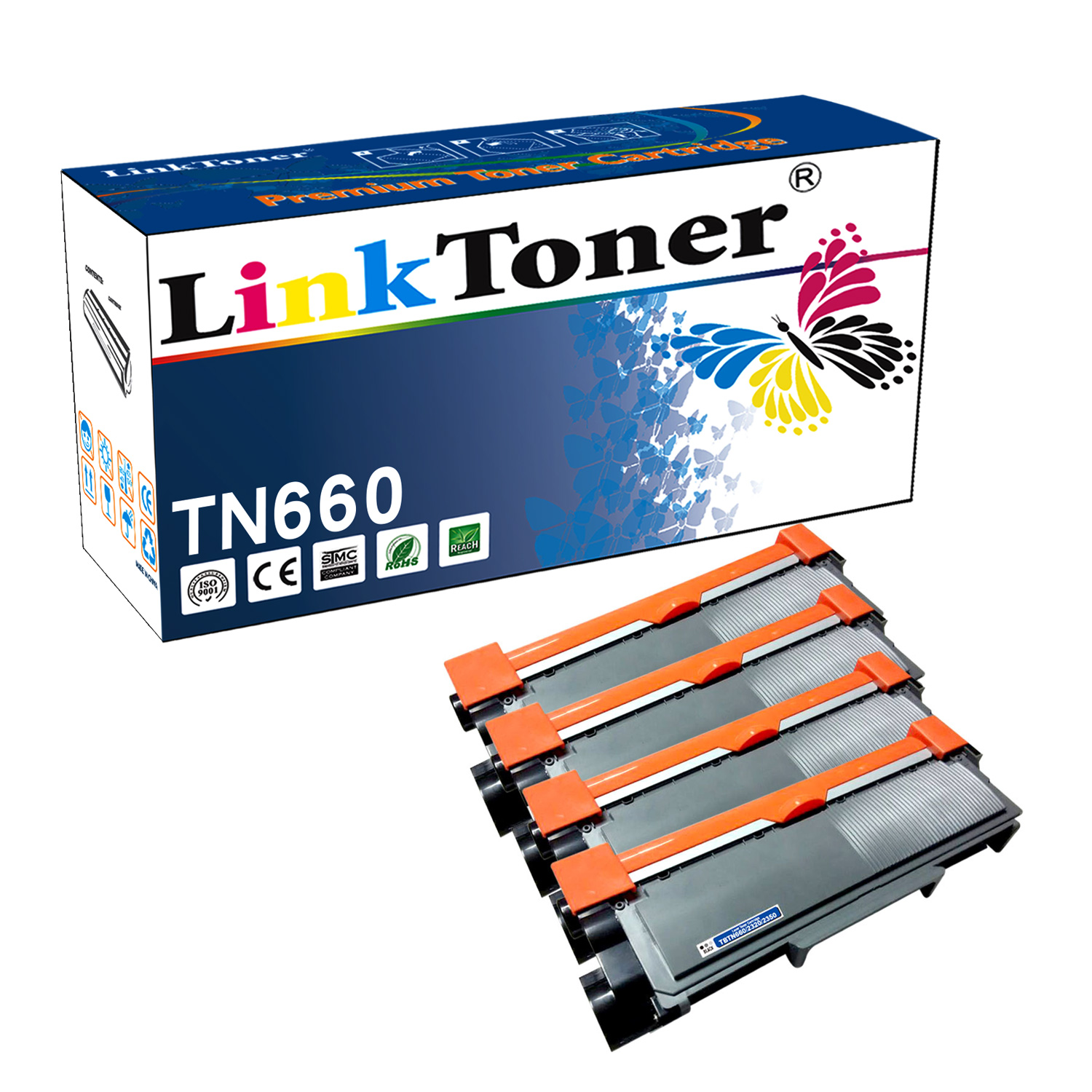 LinkToner Compatible Toner Cartridge Replacement for Brother TN660 BK 4 Pack Laser Photo Printer DCP-L2520D, DCP-L2520DW, DCP-L2540DN, DCP-L2540DW, DCP-L2560DW, HL-L2300D, HL-L2305W, HL-L2315DW, HL-L2