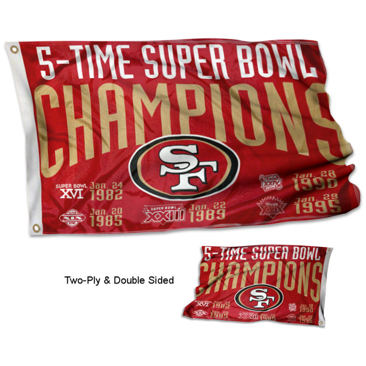 San Francisco 49ers 5 Time Super Bowl Champions Two Sided Flag