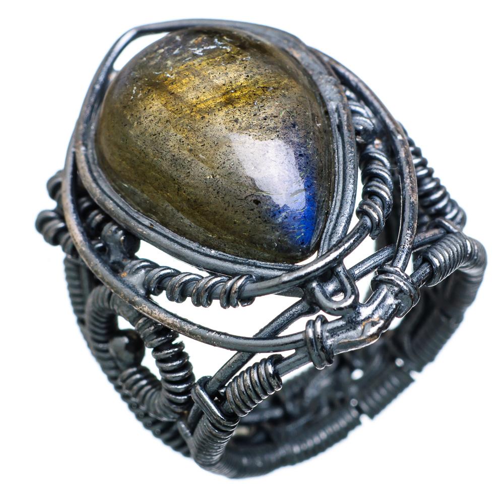 Ana Silver Co Large Labradorite Black Rhodium Plated Ring Size 6 - Handmade Jewelry RING819210