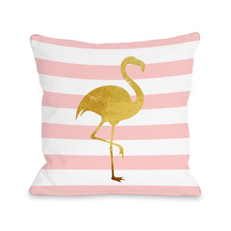 Tropical Stripes Flamingo - Pink 16x16 Pillow by OBC