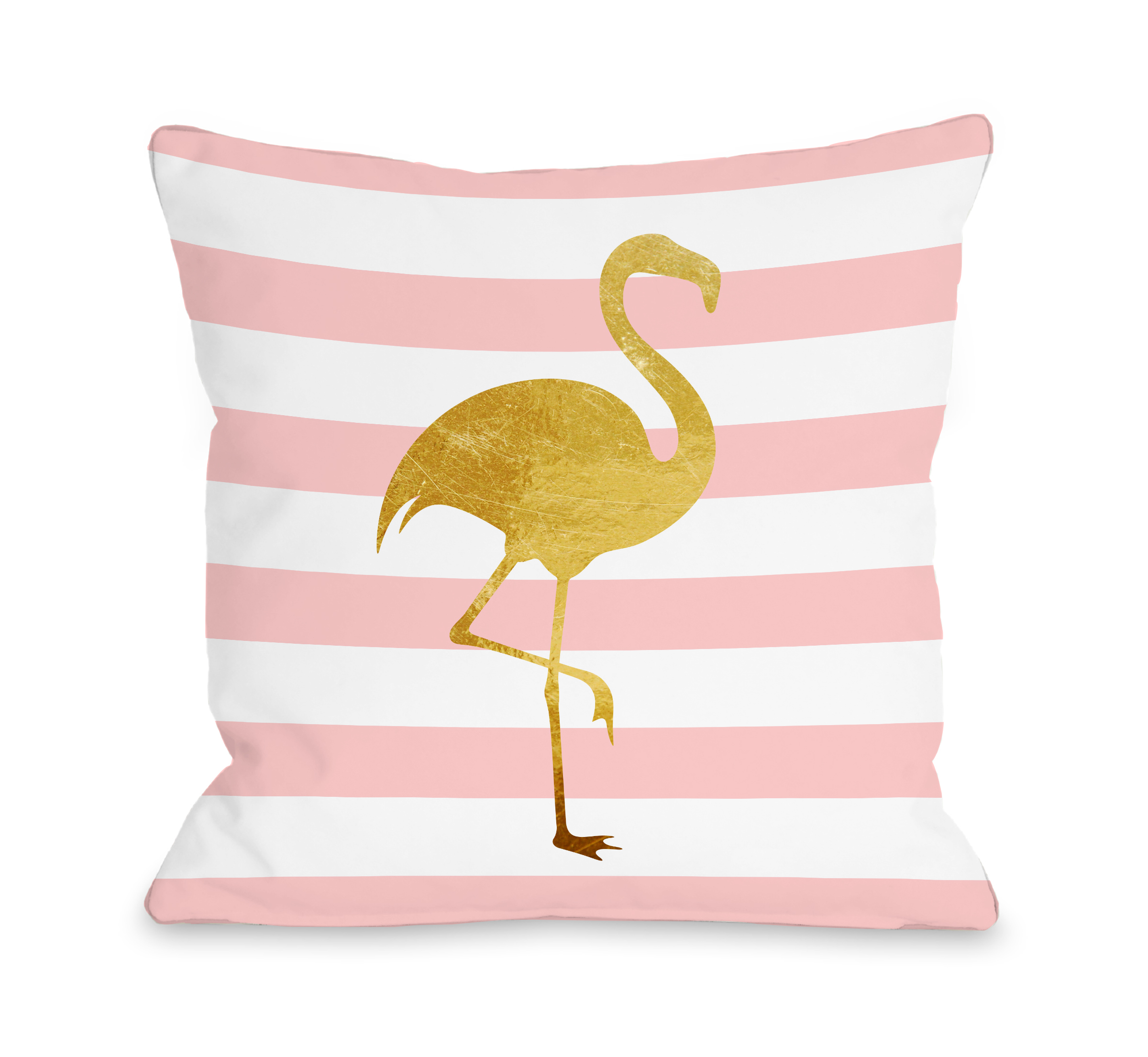 Tropical Stripes Flamingo - Pink 18x18 Pillow by OBC