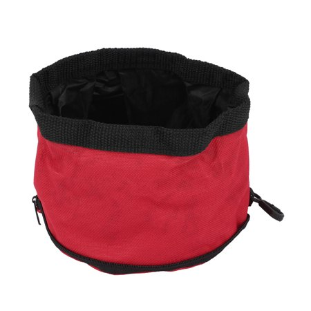 Unique Bargains Camping Travel Pet Dog Puppy Folded Zip Up Food Dish Bowl Red 15Cm Dia