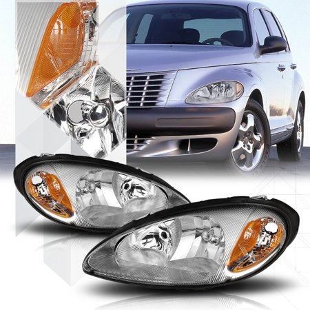 Cruiser Chrome Headlight - Chrome Housing Headlight Amber Signal Reflector for 01-05 Chrysler PT Cruiser 02 03 04