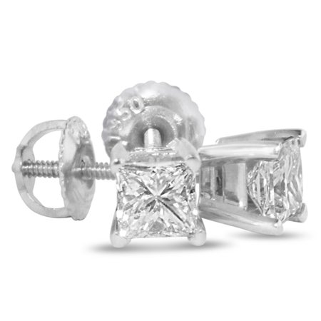 2ct Princess Cut Diamond Stud Earrings 14k White Gold I J Si