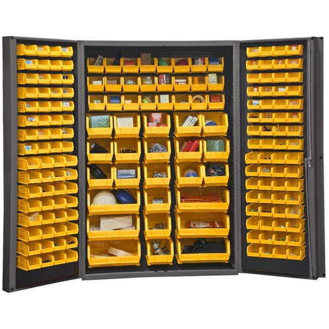 14 Gauge Deep Door Style Lockable Cabinet with 176 Yellow Hook on Bins, Gray - 48 in.