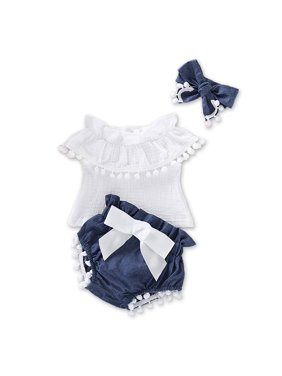 3-piece Baby / Toddler Girl Pompon Decor Flounced Collar Top and Shorts with Headband