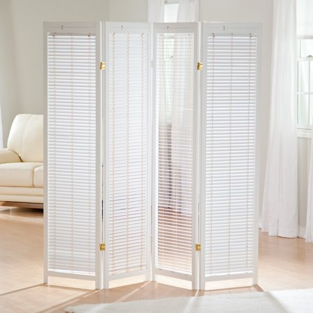 Tranquility Wooden Shutter Screen Room Divider In White