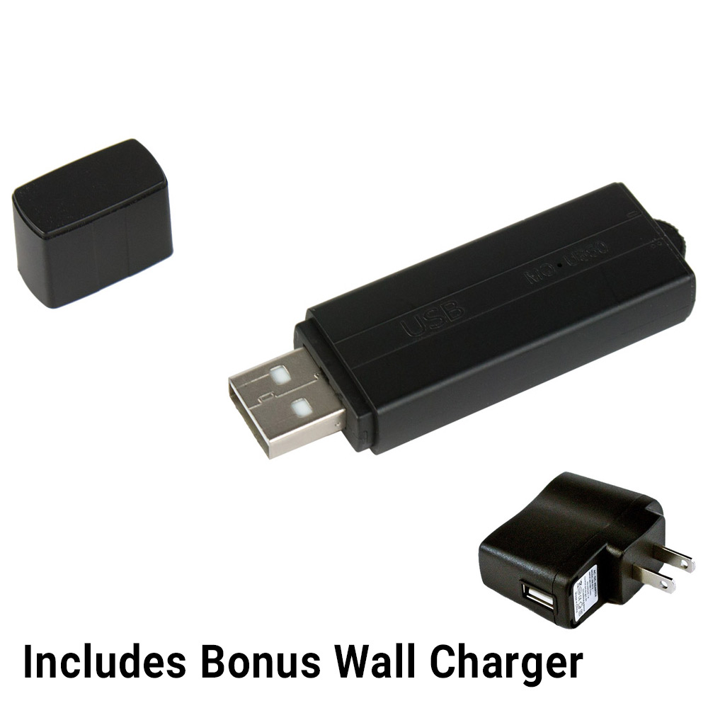 Voice Activated Recorder USB Flash Drive Voice Activated Spy Audio Recording Device with Wall Charger by SpygearGadgets