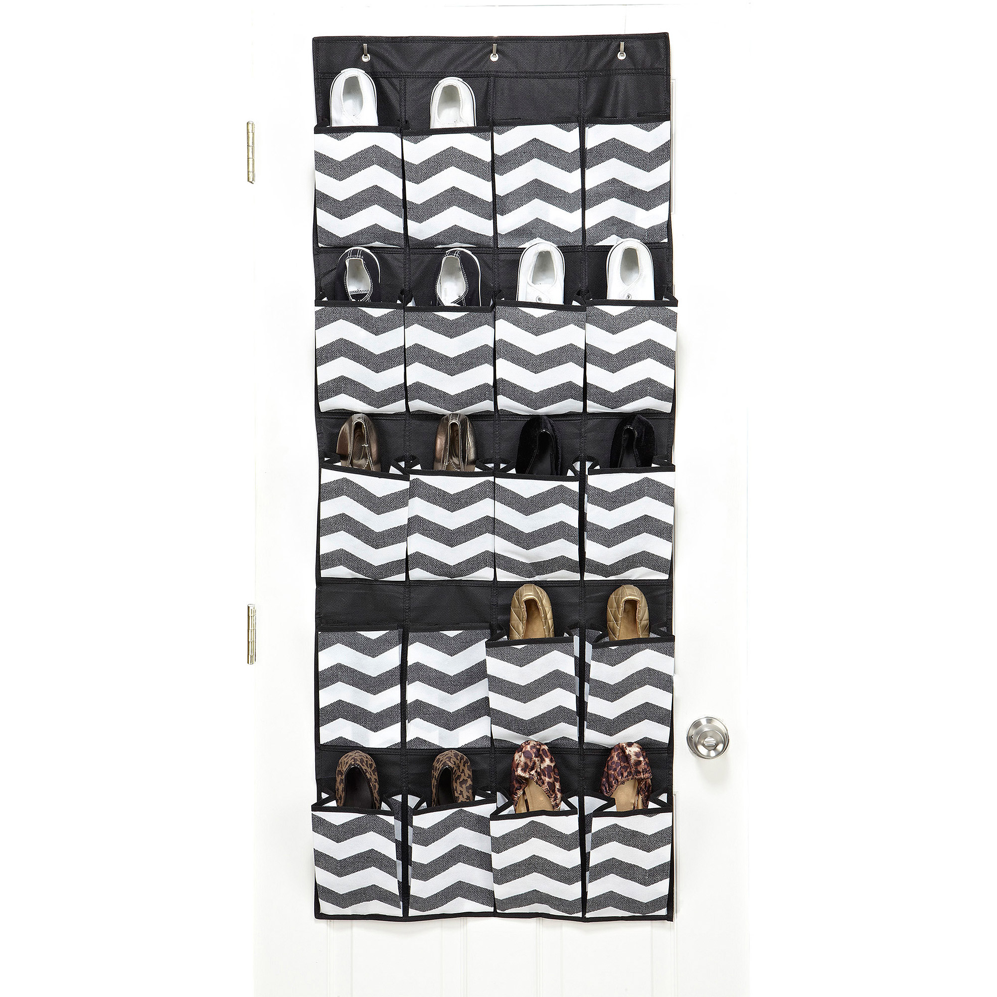 ClosetCandie 20-Pocket Over-The-Door Shoe Organizer, Chevron Faux Jute