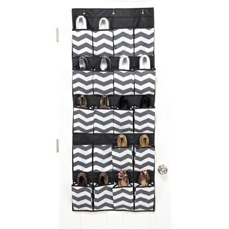 housecandie 20 pocket over the door shoe organizer chevron faux jute. Black Bedroom Furniture Sets. Home Design Ideas