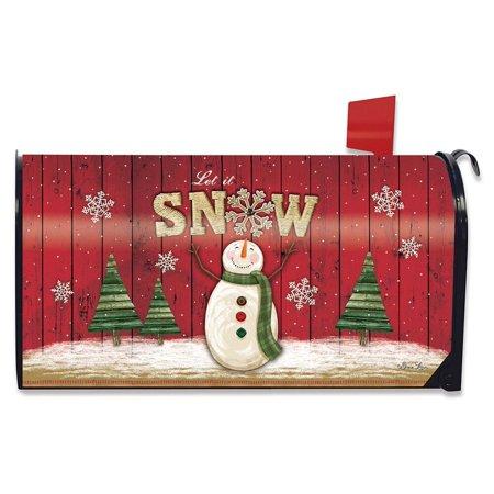 Let It Snow Snowman Winter Magnetic Mailbox Cover Primitive Snowflakes Standard