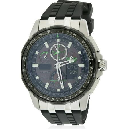 Eco-Drive Skyhawk A-T Chronograph Perpetual Rubber Mens Watch JY8051-08E