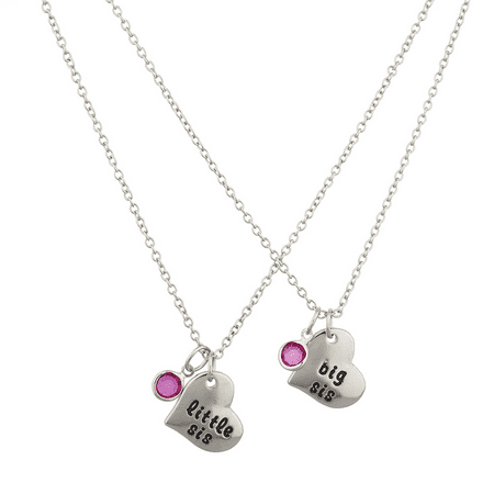 Lux Accessories Silvertone Big Sis Little SiS Pink Heart Charm Necklace - Big Sister And Little Sister Halloween Costumes