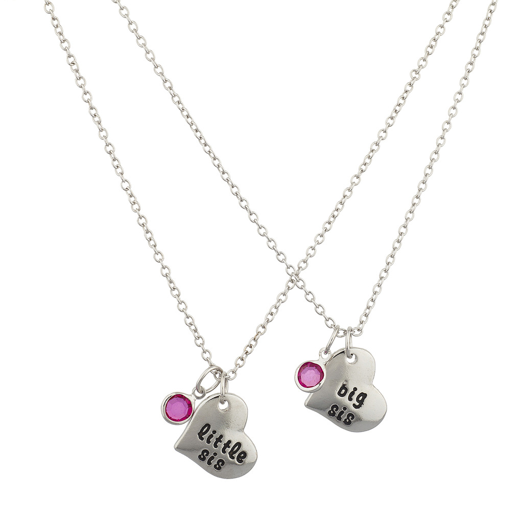 Lux Accessories Silvertone Big Sis Little SiS Pink Heart Charm Necklace (2PCS)