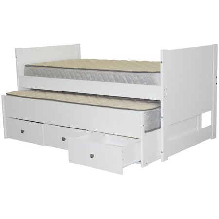 Bedz King Captains Twin Bed with Twin Trundle and 3 Drawers, White ()
