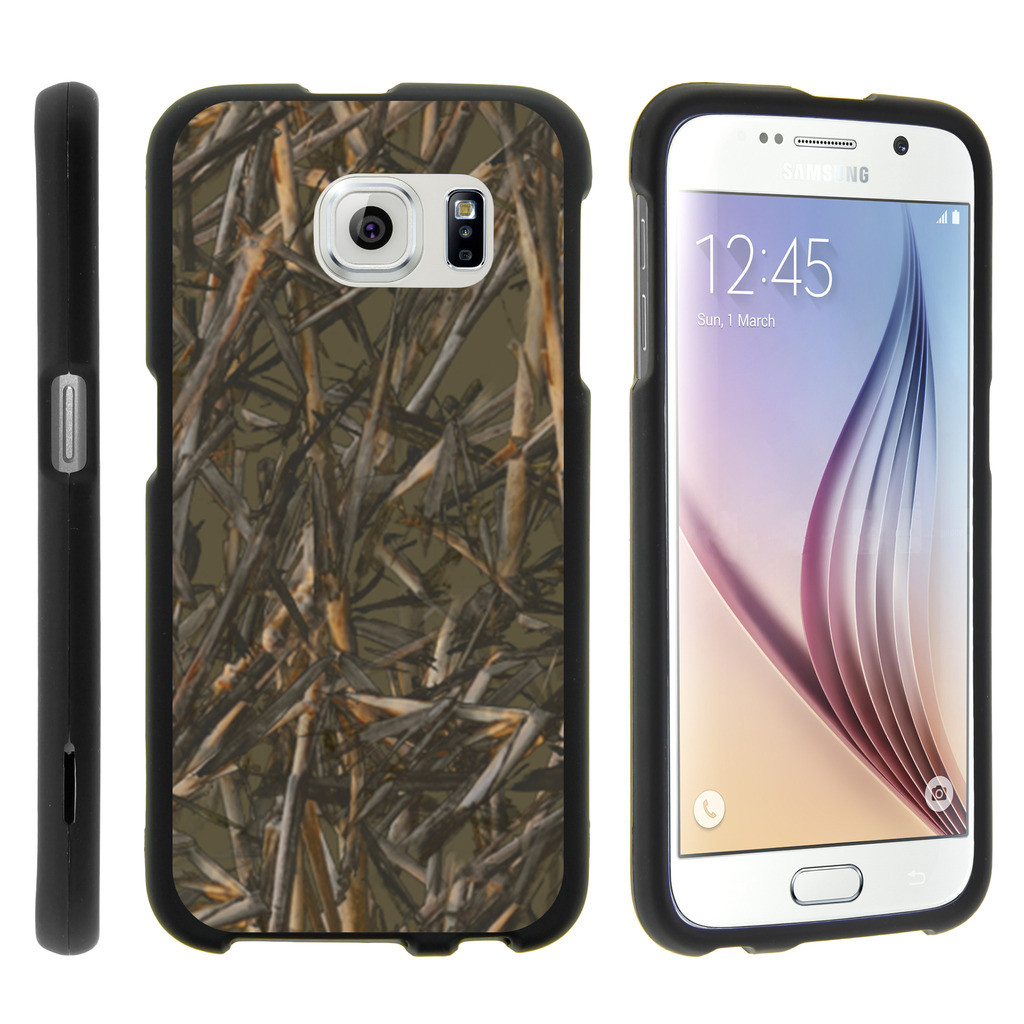 Samsung Galaxy S6 Edge G925, [SNAP SHELL][Matte Black] Snap On Hard Plastic Protector with Non Slip Coating with Unique Designs - Dry Wood Camouflage
