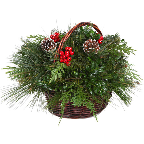Real Christmas Trees Delivered Freshly Cut Decorated Willow Christmas Basket
