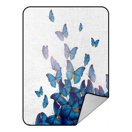 PHFZK Personalized Beautiful Blue Butterflies Art Print Design Fleece Blanket Crystal Velvet Front and Lambswool Sherpa Fleece Back Throw Blanket 58x80inches - Personalized Fleece