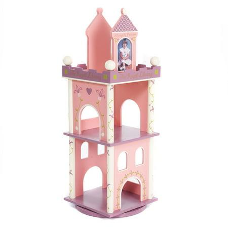 Wildkin Princess Kids Bookshelf Revolving Pink And Purple Castle