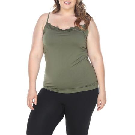 19bbdac4385d4 Women s Plus Size Lace Trim Tank Top - Walmart.com