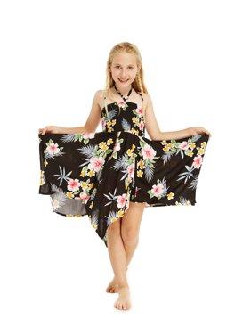 Girl Gypsy Uneven Bottom Hawaiian Luau Dress in Black Hibiscus Size 4