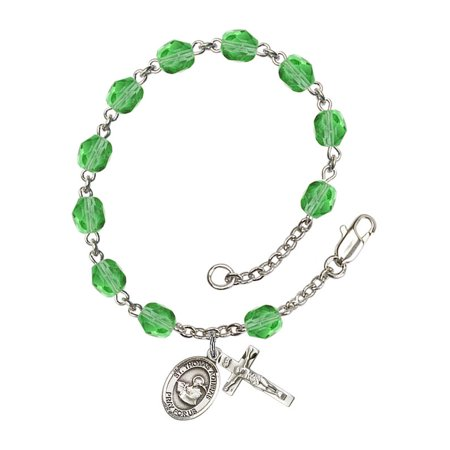 St. Thomas Aquinas Silver Plate Rosary Bracelet 6mm August Green Fire Polished Beads Crucifix Size 5/8 x 1/4 medal