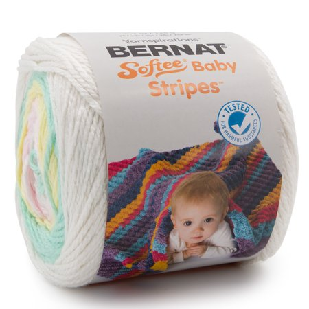 Bernat Softee Baby Stripes Soft 100% Acrylic Light Yarn for Knitting Crocheting Light #3 Rowan Soft Baby Yarn