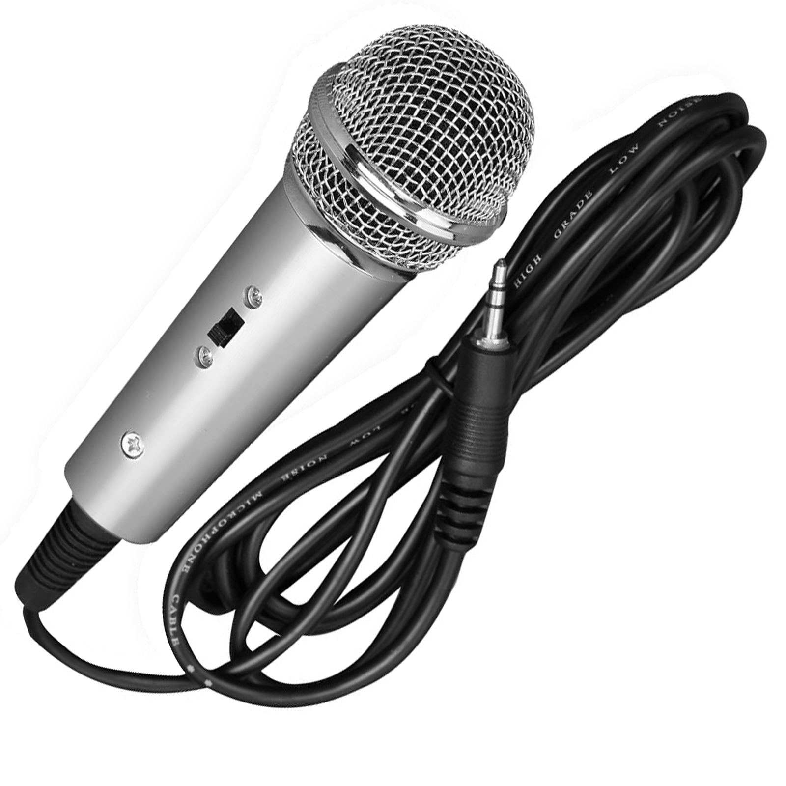 Wired Vocal Microphone, Handheld Condenser Mic, 3.5mm Connector (Silver)