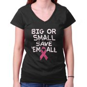 Breast Cancer Awareness Shirt Big Small Save Em All Pink Gift Junior V-Neck Tee