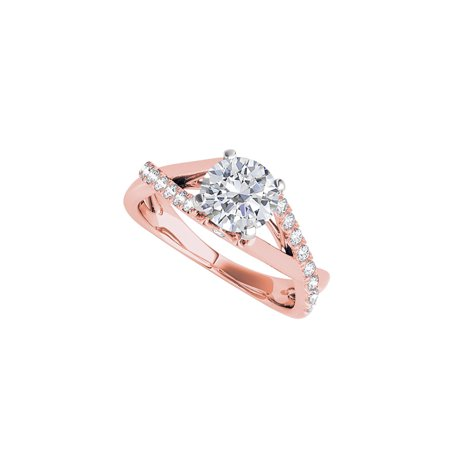 Criss Cross Design Cubic Zirconia Ring in 14K Rose Gold - image 2 de 2