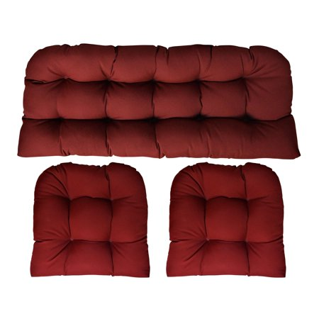 Sunbrella Canvas Burgundy 3 Piece Wicker Cushion Set (41