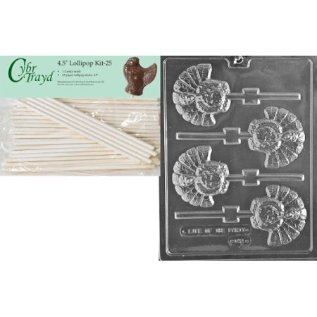 Cybrtrayd 45St25-T042 Turkey Lolly Thanksgiving Chocolate Candy Mold with 25-Pack 4.5-Inch Lollipop - Stick Mold