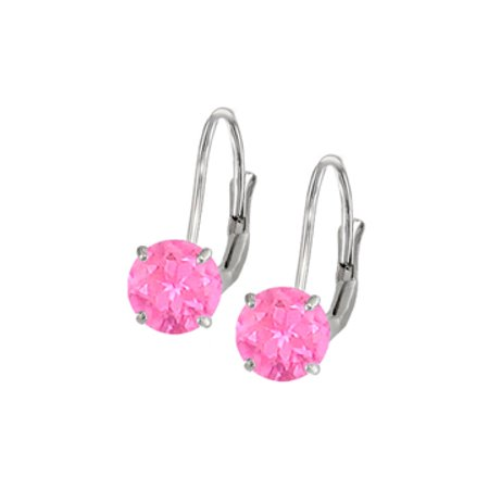Leverback Earrings 14K White Gold with Created Pink Sapphire Gemstone 2.00 CT TGW Perfect Jewelr