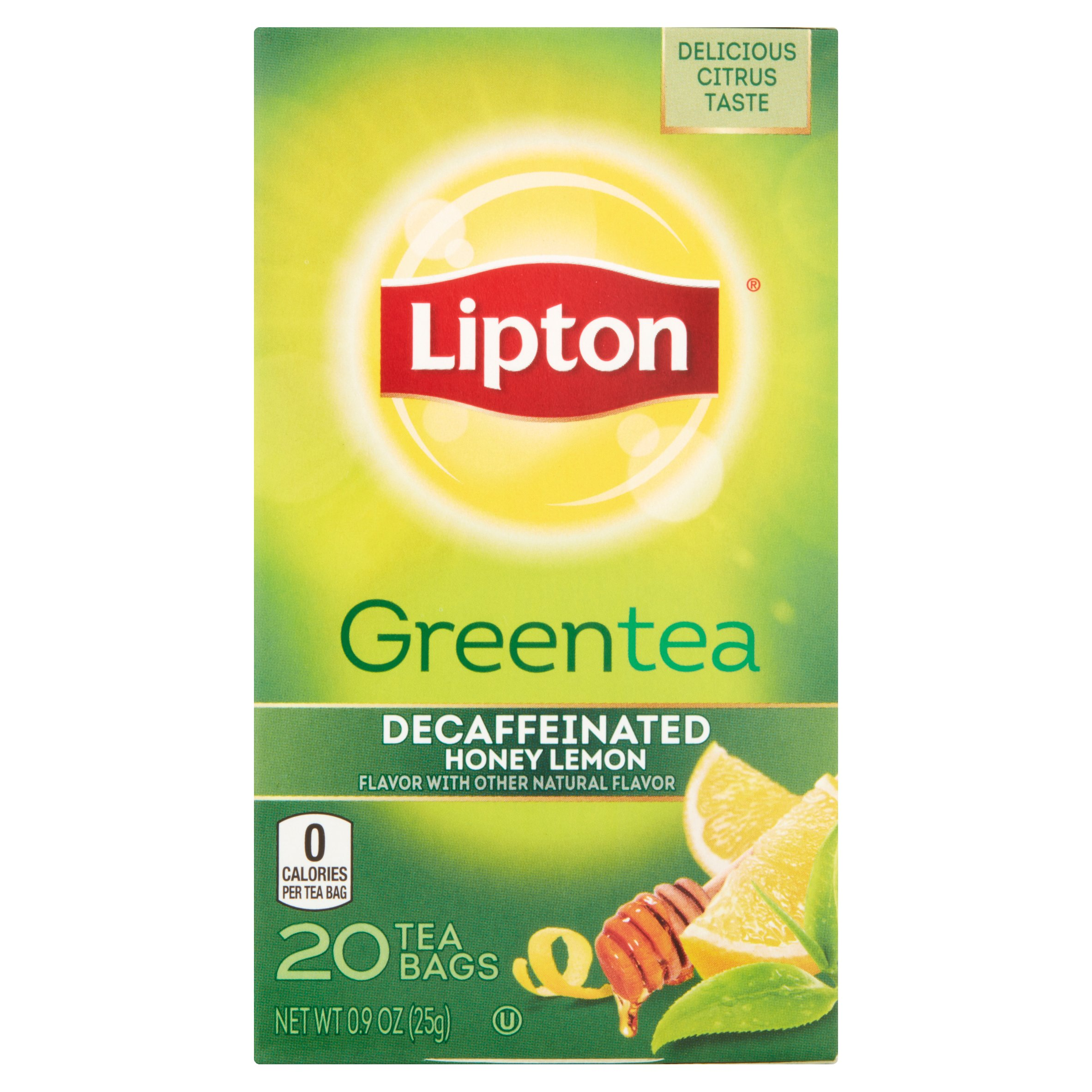 (4 Boxes) Lipton Green Tea Decaffeinated Honey Lemon 20 ct