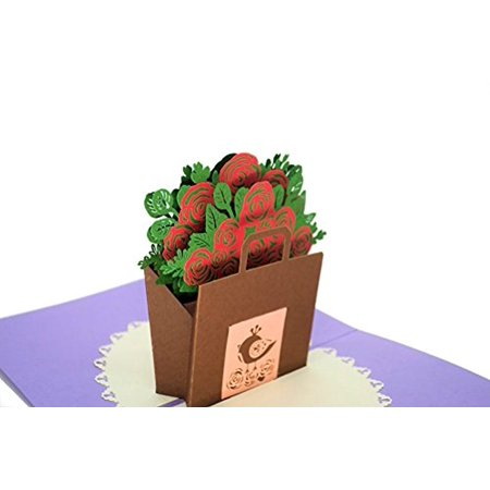 Red Roses In A Fc Energy Bag 3d Pop Up Greeting Card For Graduation