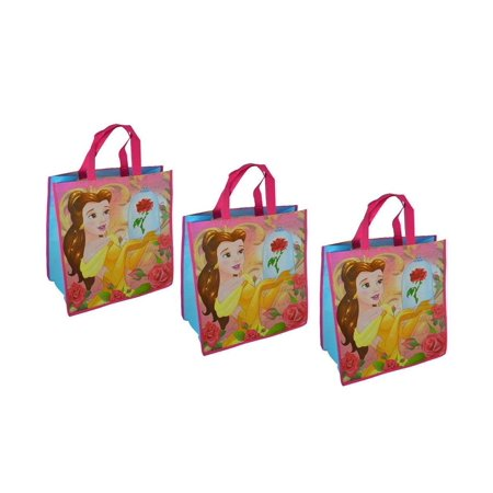 Disney Disney Princess Belle Large Reuseable Pink Shopping Tote Bags (3pc Set) Novelty Character Accessories
