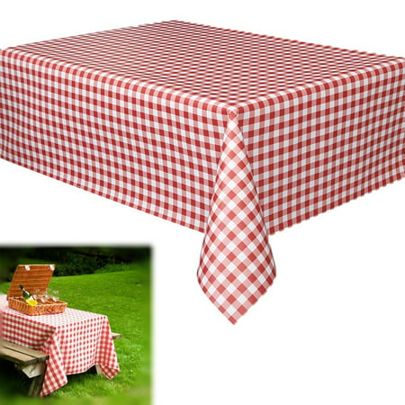 Disposable Checkered Tablecloths (Dazzling Toys Christmas Vinyl Party Tablecloths | Red and White Checkered Gingham Print | Disposable Table Covers - 70