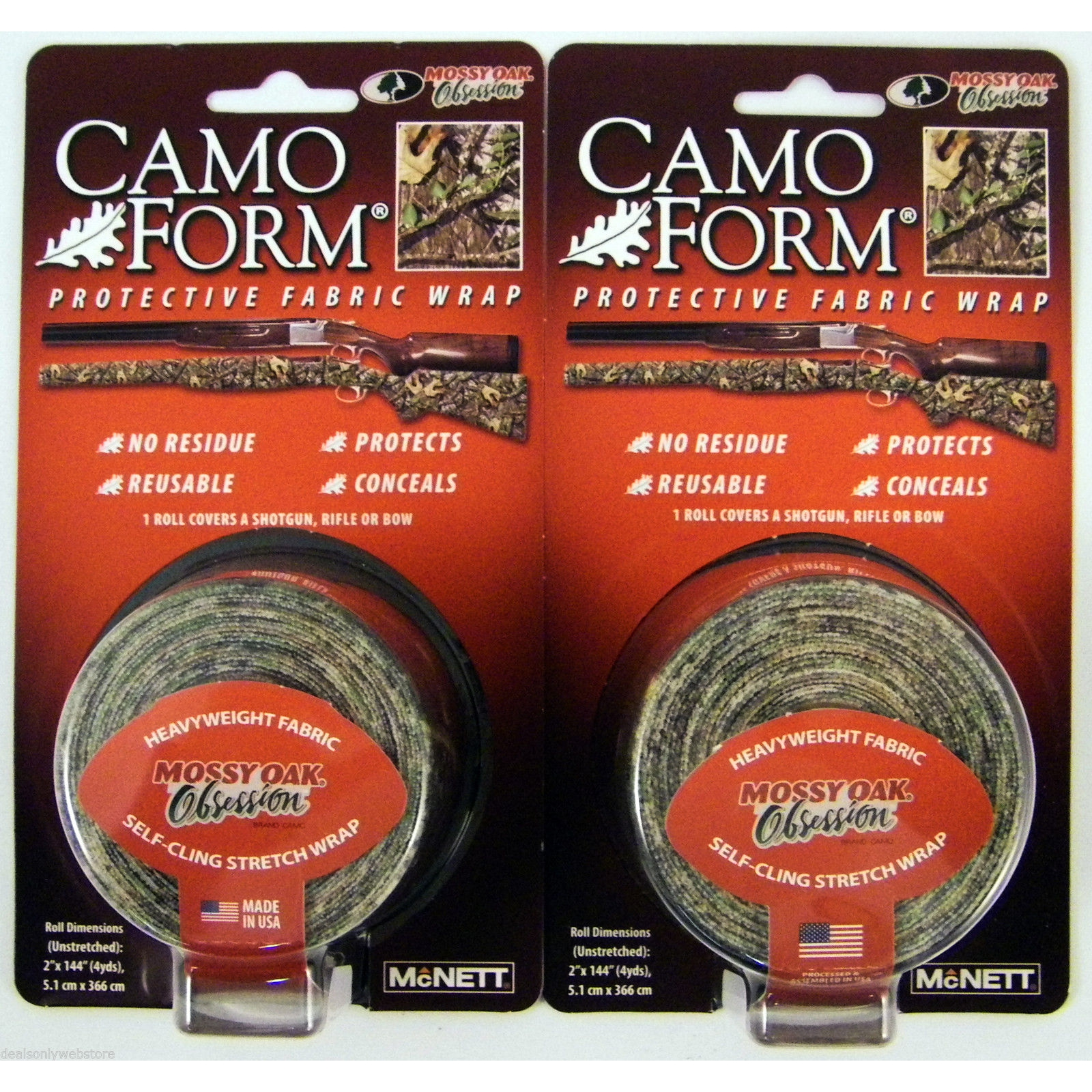 2-PACK Camo Form Mossy Oak Obsession Camouflage Gear Wrap Protective Cling Tape