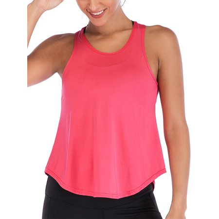 Women Sleeveless Casual Loose Sheer Cropped Vest Tank Tops Yoga Gym Sports Sheer Mesh Tops Shirts Tank Active Stretch Sleeveless Workout Vest Summer Baggy Shirt Blouse  Rose Red S