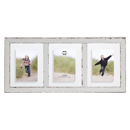 Prinz 3-Opening Bristol Distressed Wood Float Frame, 4x6 Inch, White ...