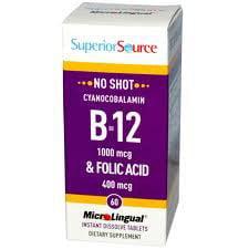 No Shot B12 1000 mcg / Folic Acid 400 mcg Superior Source 60 Sublingual Tablet 1000 Mcg 90 Sublingual Tablets