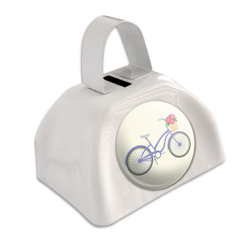 Bicycle Bike With Basket of Flowers White Cowbell Cow Bell by Graphics and More