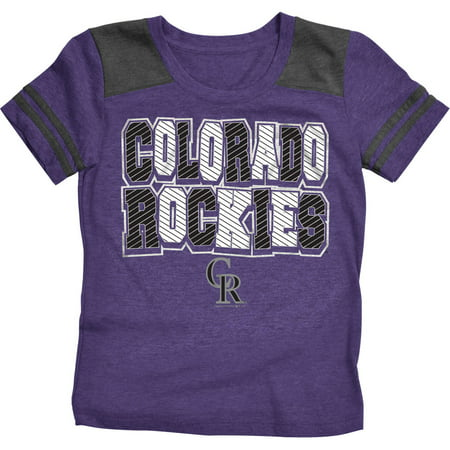 MLB Colorado Rockies Girls Short Sleeve Team Color Graphic Tee