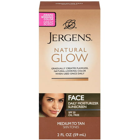 Jergens Natural Glow Daily Facial Moisturizer SPF 20, Medium To Tan Skin Tones 2 oz