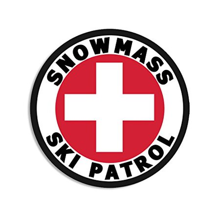 Round SNOWMASS SKI PATROL Sticker (co colorado aspen snow)