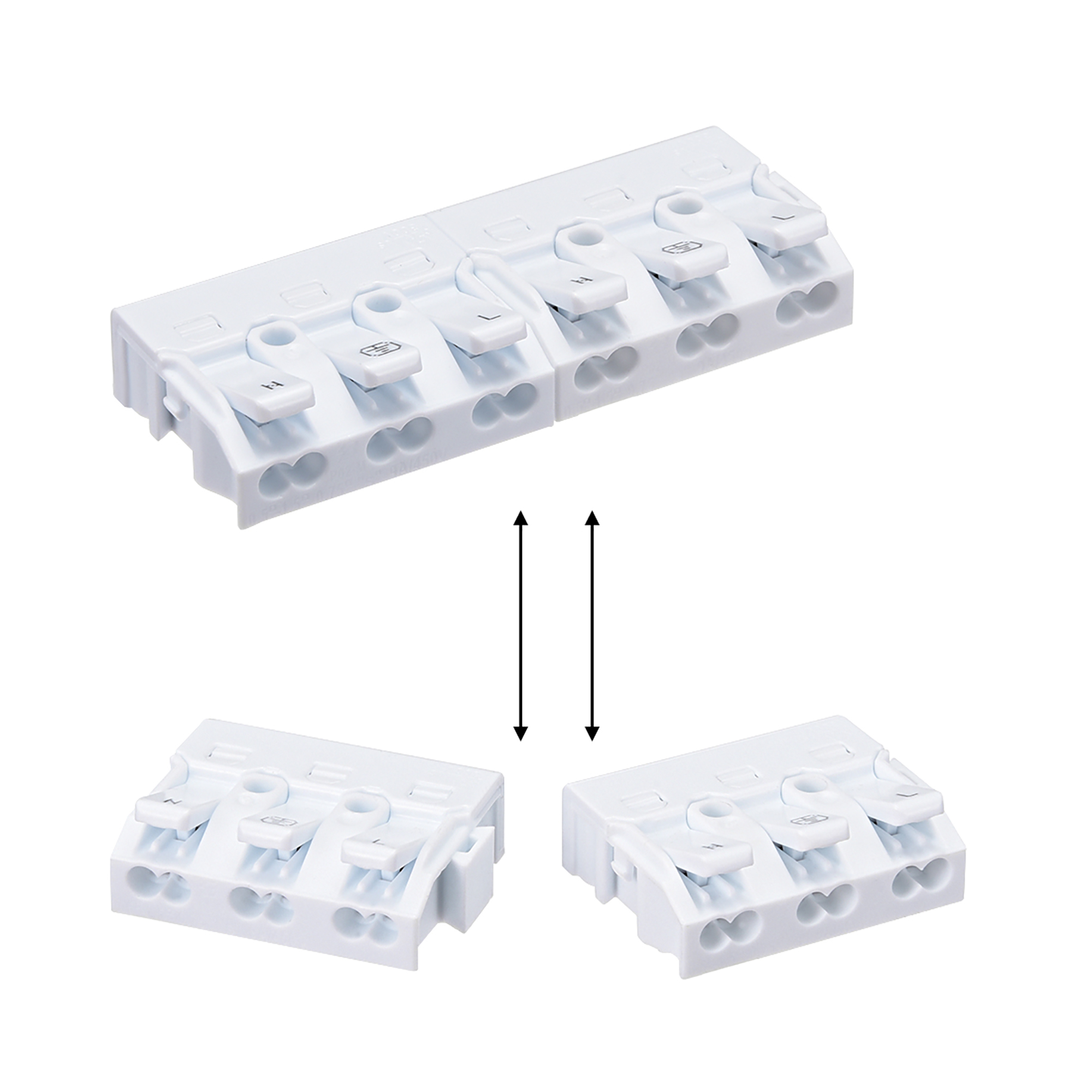 Spring Wire Connectors Quick Cable Connector Press Type Terminal Block 3 Ways 10pcs - image 5 of 6