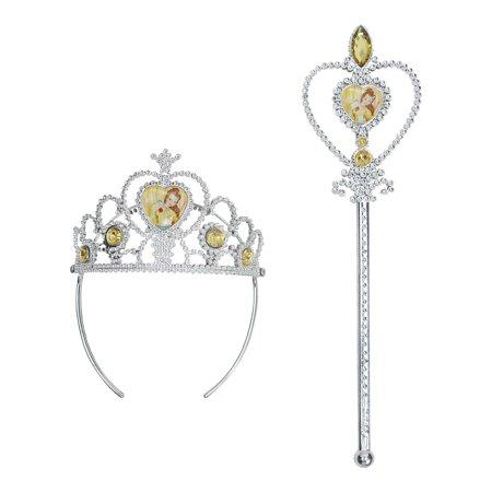 Disney Princesses Belle Girls Crown Tiara and Wand - Disney Princess Belle Tiara